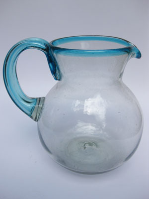 Wholesale MEXICAN GLASSWARE / 'Aqua Blue Rim' blown glass pitcher / This modern pitcher is decorated with an aqua blue rim.